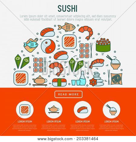 Japanese food concept in half circle with thin line icons of sushi, noodles, tea, rolls, shrimp, fish, sake. Vector illustration for banner, web page or print media.