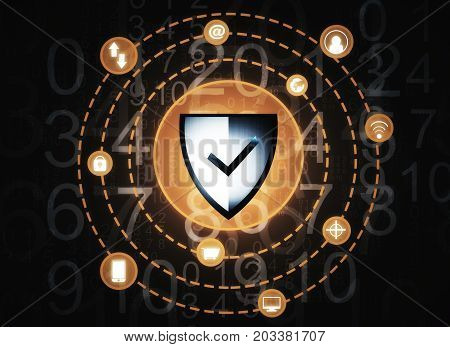 Creative antivirus shield background. Protection concept. 3D Rendering