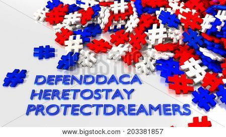 Most popular daca hashtag keywords on white surrounded by a pile of hashtags in american colors red blue and white 3D illustration
