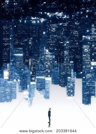 Tiny businessman on abstract upside down city background. Creativity concept