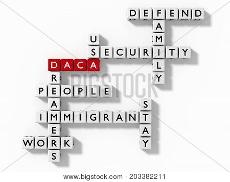 Crossword puzzle with DACA keywords immigration concept flat design 3D illustration