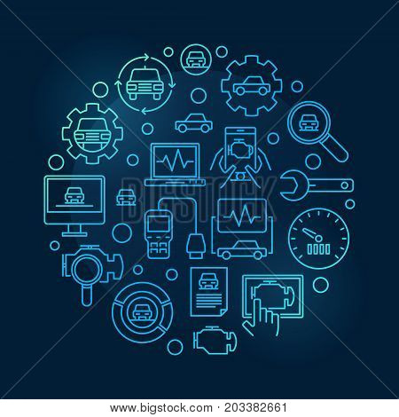 Car diagnostic round blue illustration. Vector automotive diagnostics circular symbol on dark background