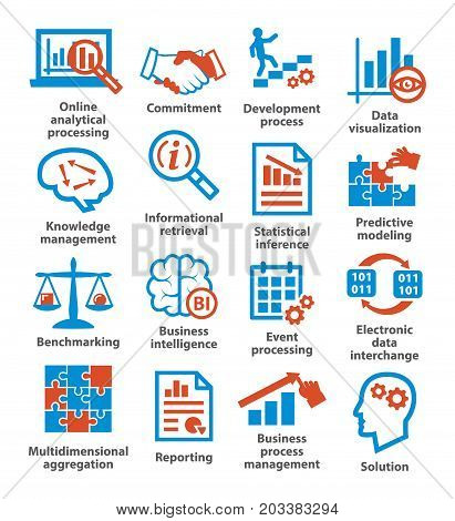 Business management icons on white. Pack 04