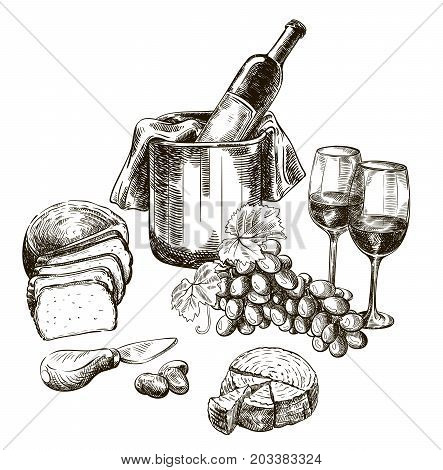 red wine bottle and snacks. set of vector sketches on white background