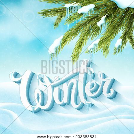 Word Winter with snow and icicles. Winter postcard, invitation template. Vector illustration.