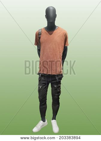Full-length male mannequin in dressed clothes isolated on green background. No brand names or copyright objects.