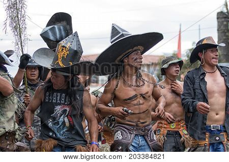June 29 2017 Cotacachi Ecuador: kichwa indigenous people marching on the street during Inti Raymi festival