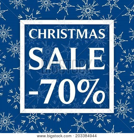 Christmas Sale Template, Discount Banner, Snowflakes Winer Background. Vector Illustration