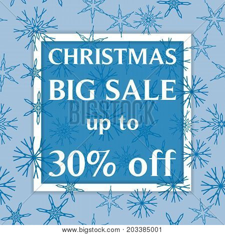Christmas Big Sale Template, Discount Banner, Snowflakes Winer Background. Vector Illustration