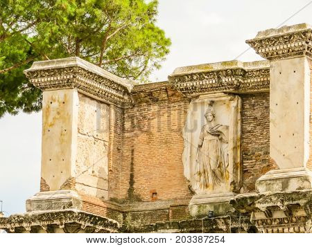 Detail of building of the Roman Forum. Ruins of times of the Roman Empire. Rome, Italy