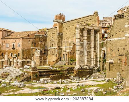 Roman Forum. Ruins of times of the Roman Empire. Rome, Italy