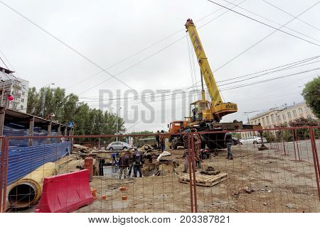 Nizhny Novgorod, Russia. - September 06.2017. Construction Of The Residential Complex House On Freed