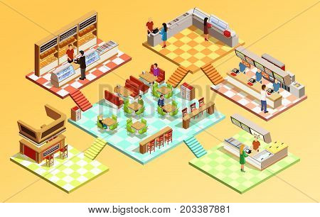 Food court composition with fast food restaurant isometric room interiors tables seats and counters vector illustration