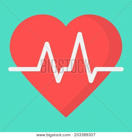 Heartbeat flat icon, medicine and healthcare, pulse sign vector graphics, a colorful solid pattern on a cyan background, eps 10.