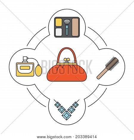 Woman's purse contents color icons set. Blusher, hair brush, gemstone, perfume. Isolated vector illustrations