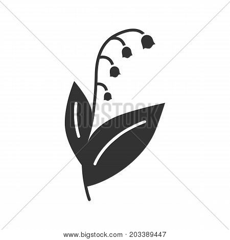 Lily of the valley glyph icon. Silhouette symbol. May-lily. Negative space. Vector isolated illustration