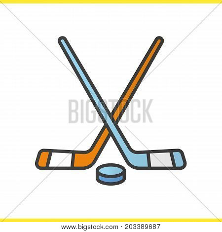 Ice hockey equipment color icon. Crossed hockey sticks and rubber puck. Isolated vector illustration