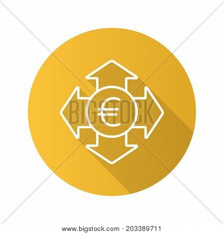 Money spending flat linear long shadow icon. Euro currency with all direction arrows. Expanses. Vector outline symbol
