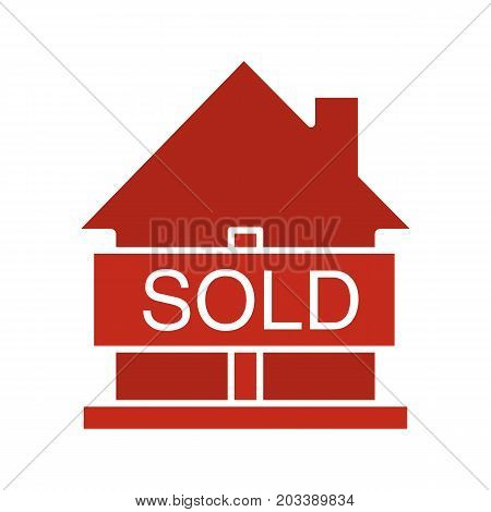 Sold house glyph color icon. Real estate purchase. House with sold sign. Silhouette symbol on white background. Negative space. Vector illustration