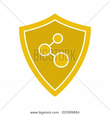 Network connection security glyph color icon. Protection shield. Silhouette symbol on white background. Negative space. Vector illustration