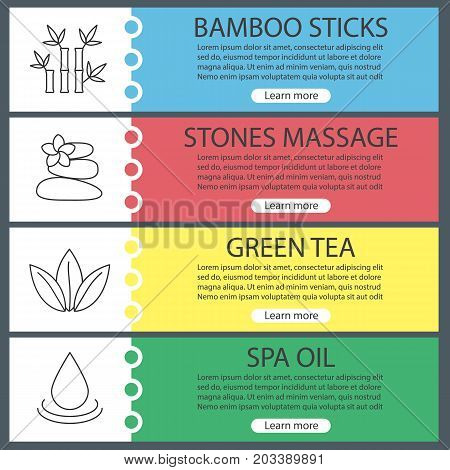 Spa salon web banner templates set. Bamboo sticks, stones for massage, green tea, spa oil drop. Website color menu items with linear icons. Vector headers design concepts