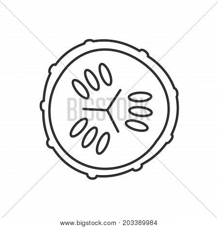 Cucumber slice linear icon. Spa. Thin line illustration. Cucumber facial mask contour symbol. Vector isolated outline drawing