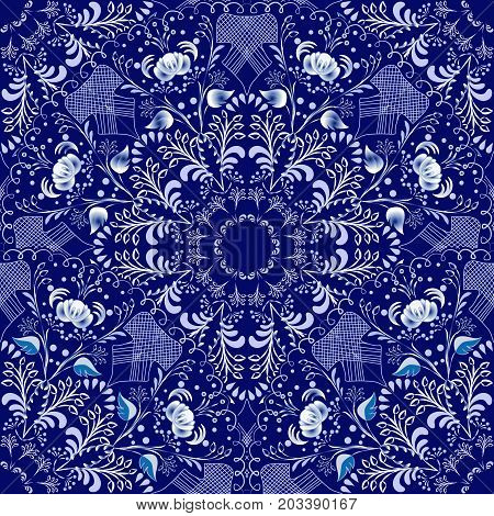 Seamless floral pattern in Gzhel style. Blue circular pattern on a dark background. Vector illustration.