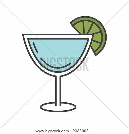 Margarita cocktail color icon. Martini drink. Isolated vector illustration
