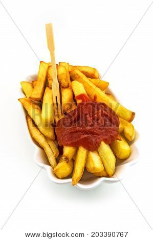 French Fries With Ketchup fast food on white background