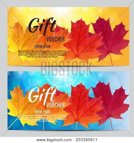 Autumn Gift Voucher Template Vector Illustration for Your Business EPS10