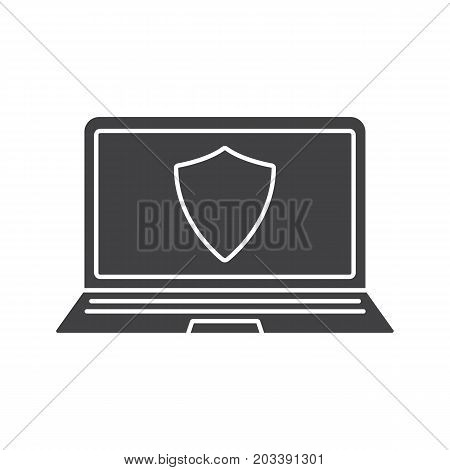 Laptop antivirus program glyph icon. Security silhouette symbol. Notebook with protection shield. Negative space. Vector isolated illustration
