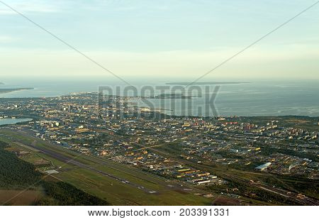 View from the plane to Tallinn airport and Lasnamae district.