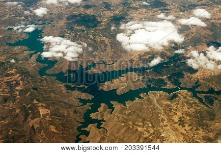 Reservoir in the mountains on the peninsula of the Pyrenees