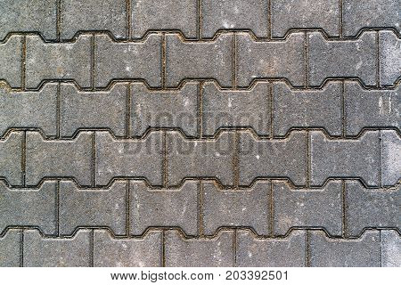 Pavement concrete H shaped slabs texture top view urban patterns and backgrounds