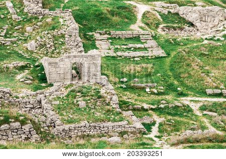 Archaeological excavations of an ancient structure. Crimea, Mithridates