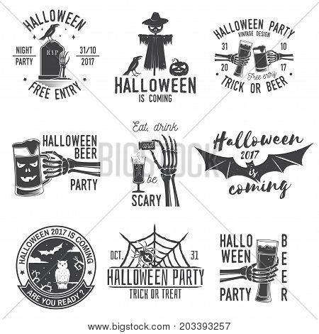 Eat, drink and be Scary. Set of Halloween retro badge. Overlay or Labels for shirt or logo, print, seal, stamp. Skeleton hand with potion and glass of magic drink. Typography design- stock vector.