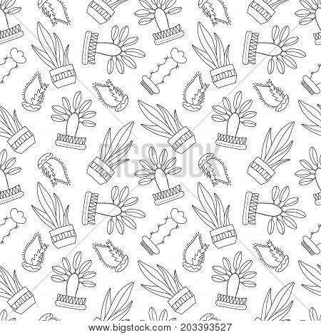 Black and white outlined cactus vector seamless pattern. Cactus doodle on white background. Houseplant pattern tile. Cacti in pot surface design. Textile or wrapping paper. Hipster succulent texture