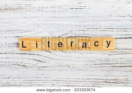 LITERACY word made with wooden blocks concept