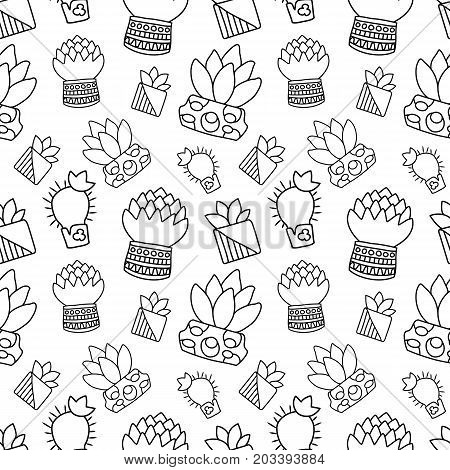 Black and white outlined cactus vector seamless pattern. Handdrawn cactus doodle on white background. Houseplant pattern tile. Cacti in pot surface design. Textile or paper. Hipster succulent texture