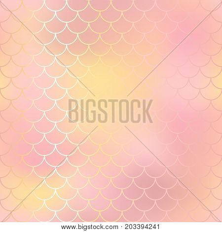 Blush pink and orange abstract fish skin background. Fantastic fish scale pattern. Mermaid vector pattern. Fish scale seamless pattern in pink color. Rose gold mermaid tail texture. Wedding background