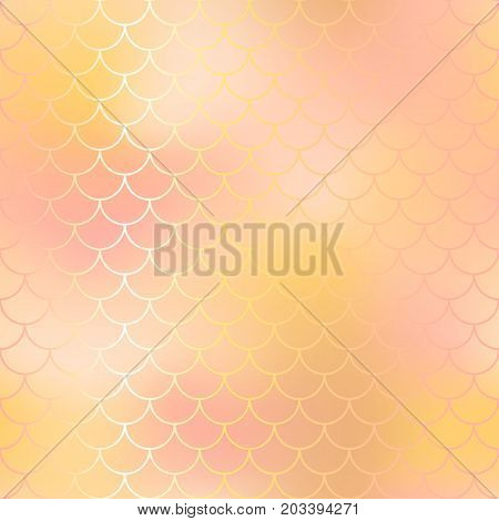 Yellow and pink gold abstract fish skin background. Fantastic fish scale pattern. Mermaid vector pattern. Fish scale seamless pattern in pink color. Rose gold mermaid tail texture. Wedding background