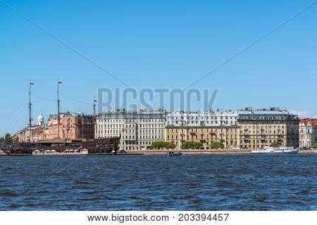 St. Petersburg, Russia - June 04. 2017. restaurant The Flying Dutchman and Mytninskaya Embankment