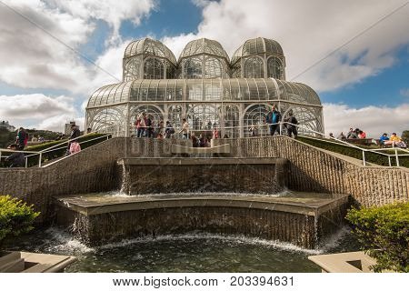 Curitiba, Brazil - July 20, 2017: People visit the famous Botanical Garden of Curitiba. The garden was opened in 1991 and covers 240.000 m2 in area.