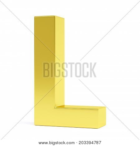 Golden letter L isolated on white. Collection. 3d image