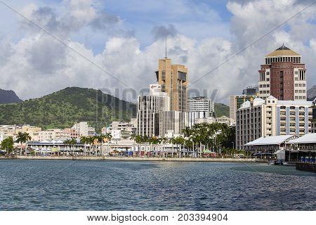 PORT LOUIS MAURITIUS - MARCH 06 2017 : Port Louis cityscape Mauritius. The city is the country's economic cultural political centre and most populous city.