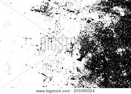 Weathered and rough concrete floor vector texture. Worn texture with grain and black corner. Distressed asphalt surface. Black and white grit trace. Obsolete vintage overlay on transparent background