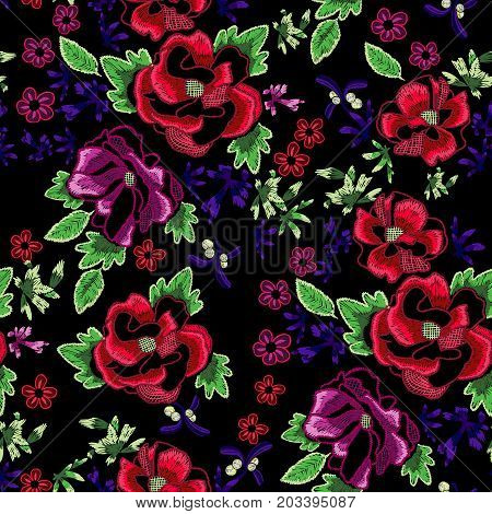 Embroidery folk seamless pattern with fantasy simplify wild roses. Vector embroidered floral patch for clothing design.