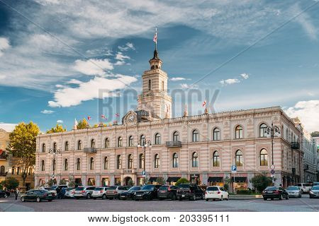 Tbilisi, Georgia - October 29, 2016: Tbilisi City Hall In Freedom Square In City Center. Clock-towered Edifice. It Houses The Mayor s Office And The City Assembly.