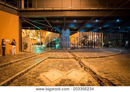 Curitiba, Brazil - July 20, 2017: Memorial of Curitiba is a modern area for various cultural activities of the city and is a common gathering place for the youth.