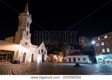Curitiba, Brazil - July 20, 2017: Empty square of the Old Town of Curitiba city at night.